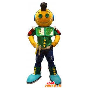 Mascotte de robot jaune vert et bleu, très amusant - MASFR031794 - Mascottes non-classées