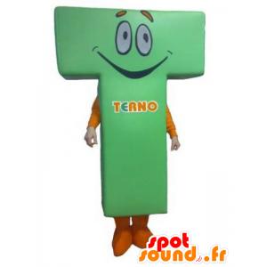 Letter-vormige mascotte T, groen en oranje - MASFR031795 - Niet-ingedeelde Mascottes