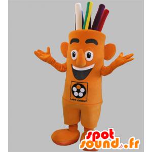 Orange Schneemann Maskottchen, Riese mit gefärbten Haaren - MASFR031801 - Menschliche Maskottchen