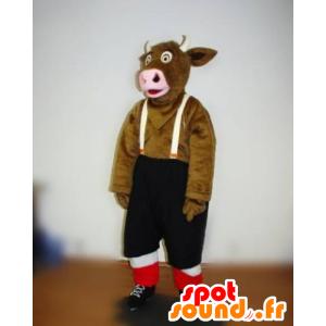 Mascota de vaca marrón con bib