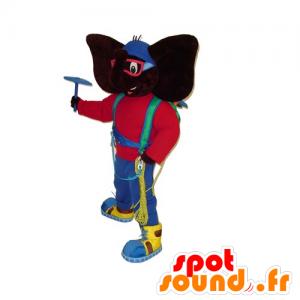 Nero elefante mascotte tenendo alpinista colorato - MASFR031805 - Mascotte elefante