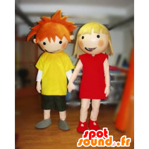 2 mascots, a boy and a girl. mascots Couple - MASFR031809 - Mascots boys and girls