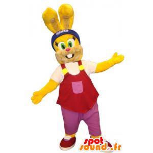 Yellow rabbit mascot with a red tank top - MASFR031814 - Rabbit mascot