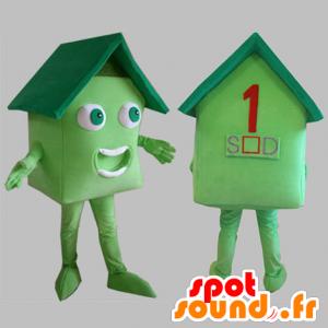 Zelený dům maskot. dům maskot