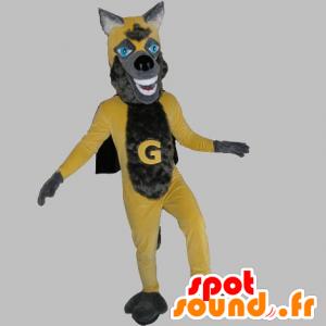 Mascot lupo giallo e grigio, con un mantello - MASFR031816 - Mascotte lupo