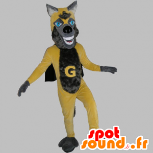 Mascot yellow and gray wolf, with a cape - MASFR031816 - Mascots Wolf