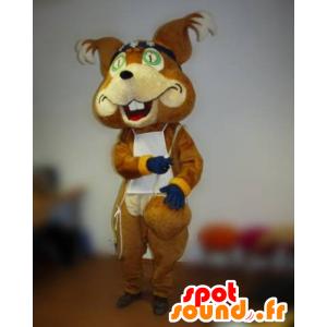 Braune Fuchs Maskottchen mit verbundenen Augen und ein Lätzchen - MASFR031823 - Maskottchen-Fox