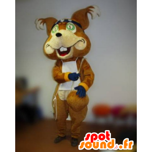 Brown fox mascot with a blindfold and a bib - MASFR031823 - Mascots Fox