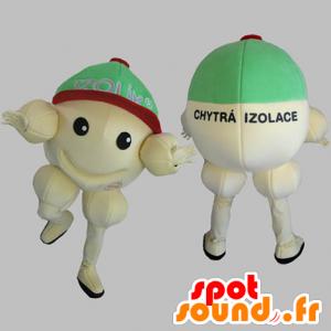 Keltainen lumiukko maskotti, jättiläinen, all round ja hymyilevä - MASFR031826 - Mascottes Homme