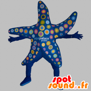Mascot blauen Seestern mit bunten Kreisen