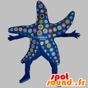 Mascot blauw zeester met kleurrijke cirkels