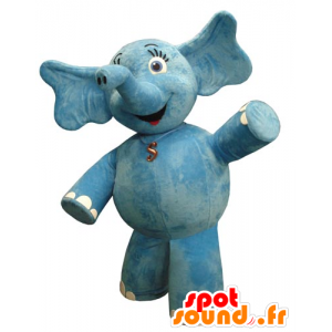 La mascota del elefante azul, rolliza y bonita - MASFR031829 - Mascotas de elefante