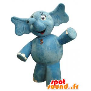 Mascotte elefante blu, grassoccio e abbastanza - MASFR031829 - Mascotte elefante