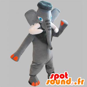 Grigio e arancione elefante mascotte con grandi zanne - MASFR031832 - Mascotte elefante