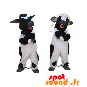2 mascots of black and white cows, giant - MASFR031834 - Mascot cow