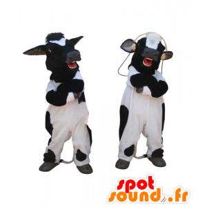 2 mascotte di nero e mucche bianche, gigante - MASFR031834 - Mucca mascotte