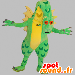 Giant dragon mascot, green and yellow, very impressive - MASFR031836 - Dragon mascot