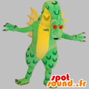 Mascote dragão gigante, verde e amarelo, muito impressionante - MASFR031836 - Dragão mascote