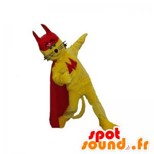 Keltainen kissa maskotti kanssa viitta ja punainen korkki - MASFR031845 - kissa Maskotteja