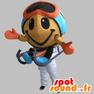 Mascotte pupazzo rotonda con una maschera e un toboga - MASFR031847 - Umani mascotte