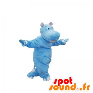 Mascotte d'hippopotame bleu. Hippopotame géant - MASFR031848 - Mascottes Hippopotame