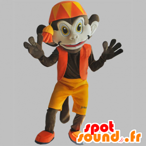 Brown monkey mascot with an orange outfit. Abu mascot - MASFR031851 - Mascots monkey