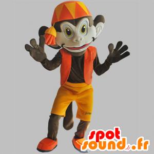 Mascotte scimmia marrone con un abito arancione. Abu mascotte - MASFR031851 - Scimmia mascotte