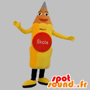 Mascotte de crayon jaune, géant et souriant - MASFR031857 - Mascottes Crayon