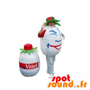 Mascotte de bouteille d'eau, blanche et ronde. Mascotte Volvic