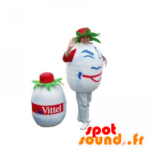 Bottiglia d'acqua Mascotte, bianco e rotondo. mascotte Volvic