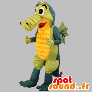 Mascotte de crocodile gris, vert et jaune. Mascotte de dragon