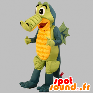 Maskot šedá krokodýl, zelené a žluté. Dragon Maskot