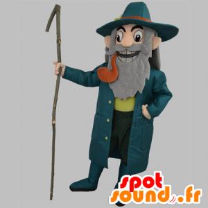 Alter Mann Maskottchen, Kapitän, in blau mit einem Rohr gekleidet - MASFR031863 - Menschliche Maskottchen