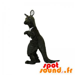 黒と白のカンガルーのマスコット。巨大なカンガルー