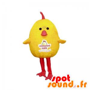 Mascotte de poussin, d'oisillon jaune et rouge, dodu et mignon - MASFR031866 - Mascotte de Poules - Coqs - Poulets