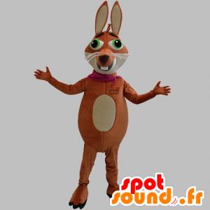 Mascotte marrone e beige volpe con gli occhi verdi - MASFR031867 - Mascotte Fox