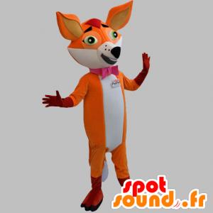Arancione e bianco mascotte volpe con una cravatta a farfalla - MASFR031868 - Mascotte Fox