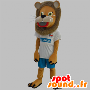 Mascotte de lion marron avec une crinière poilue - MASFR031869 - Mascottes Lion