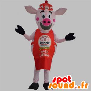 Mascota del cerdo rosado con un delantal rojo y un sombrero - MASFR031870 - Las mascotas del cerdo