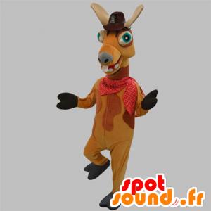 Velbloud maskot, hnědé lama s kloboukem