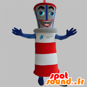 Giant flagship mascot, blue, red, gray and white - MASFR031877 - Mascots of objects