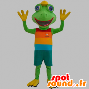 Green frog mascot dressed in a colorful outfit - MASFR031879 - Mascots frog