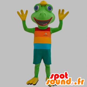 Grønn frosk maskoten kledd i en fargerik drakt - MASFR031879 - Frog Mascot