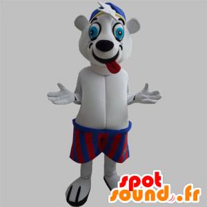 Polar Bear mascot that pulls the tongue, with a jersey - MASFR031883 - Bear mascot