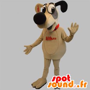 Hauva maskotti, koira beige, harmaa ja musta - MASFR031884 - koira Maskotteja