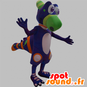 Dinosaurus mascotte, violet schepsel, groen en oranje - MASFR031885 - Dinosaur Mascot