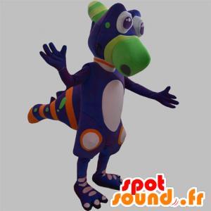 Dinossauro mascote, criatura violeta, verde e laranja - MASFR031885 - Mascot Dinosaur