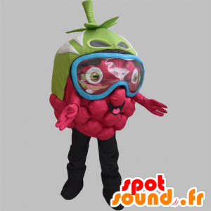 La mascota de frambuesa gigante, con una máscara sobre los ojos - MASFR031886 - Mascota de la fruta