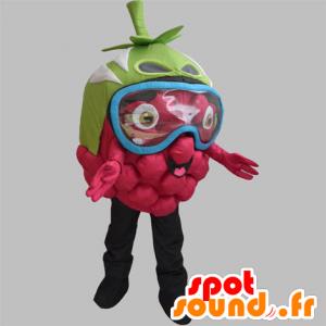 Mascotte de framboise géante, avec un masque sur les yeux - MASFR031886 - Mascotte de fruits