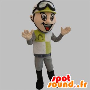 Jockey mascotte met een helm en een veiligheidsbril - MASFR031888 - sporten mascotte